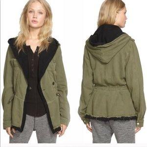 Free People Black & Green Oversized Jacket